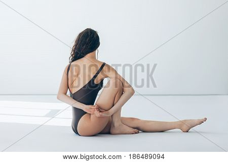 Young Beautiful Woman Doing Yoga Asana Marichyasana I