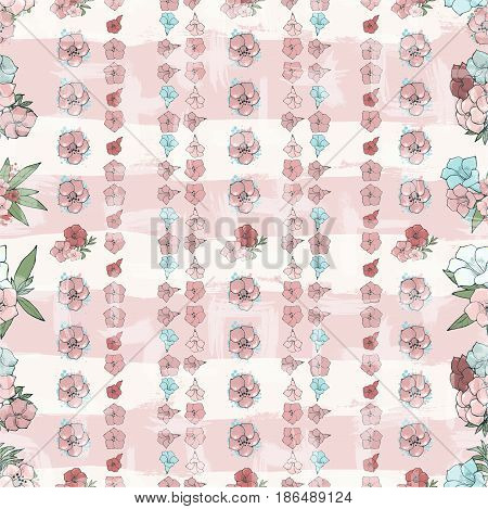 Vector seamless pattern. Small flowers on a background with stripes. Floral wallpaper. Hand drawn fashion illustration.