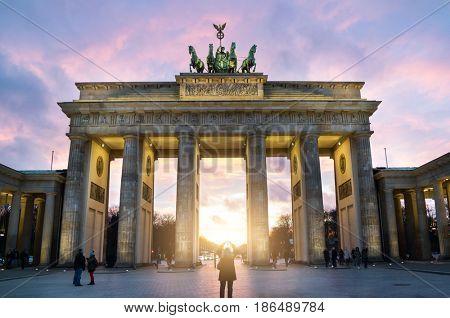 Illuminated Brandenburg Gate sunset view, Berlin, Germany