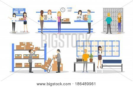 Post office interior set. Delivering and sending the mails and parcels illustrations on white background.