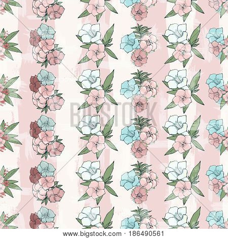 Vector seamless pattern. Beautiful pink flowers. Floral wallpaper. Hand drawn illustration.