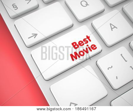 Service Concept: Best Movie on the White Keyboard lying on the Red Background. Business Concept with Modern Computer Enter White Key on Keyboard: Best Movie. 3D Render.