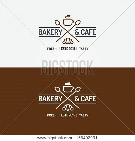 Bakery and cafe logo set line style with croissant, cup of tea and spoons for coffee shop, cupcake firm, bread house, food market, cafe, loaf store. Vector Illustration