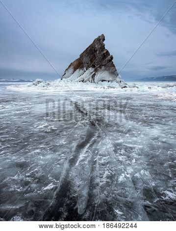 Baikal Lake Ice and Island Elenka in the Morning Baikal Lake Russia