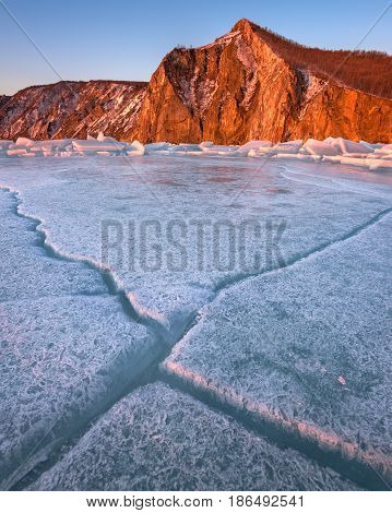 Baikal Ice and Bay Uzur in the Morning Olkhon Island Lake Baikal Russia