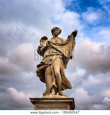 Angel with the Sudarium (Veronica's Veil) on Aelian Bridge in Rome Italy