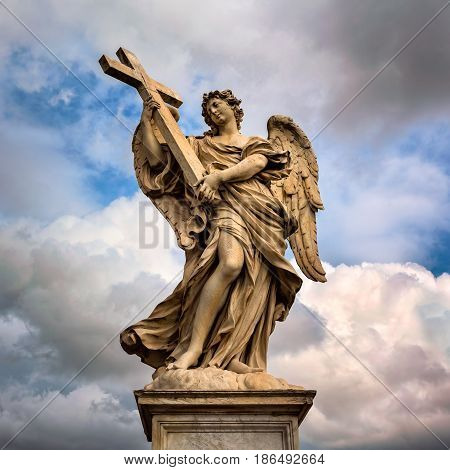 Angel with the Cross on Aelian Bridge in Rome Italy