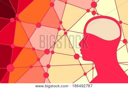 Silhouette of a man's head. Mental health relative brochure, report or flyer design template. Scientific medical designs. Connected lines with dots. Vector illustration