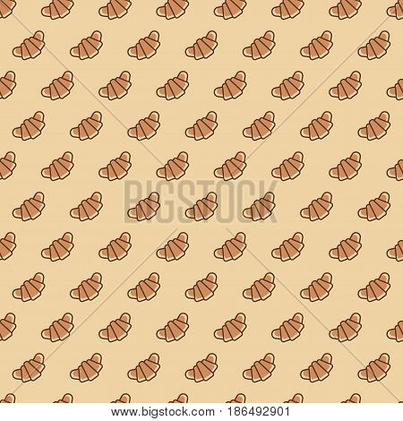 Bakery seamless pattern consisting of croissant color line style on brown background for cafe, cupcake firm, loaf store, bread house, coffee shop, food market. Vector Illustration