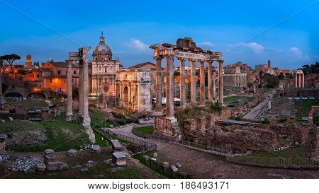 Panorama of Roman Forum (Foro Romano) in the Evening Rome Italy