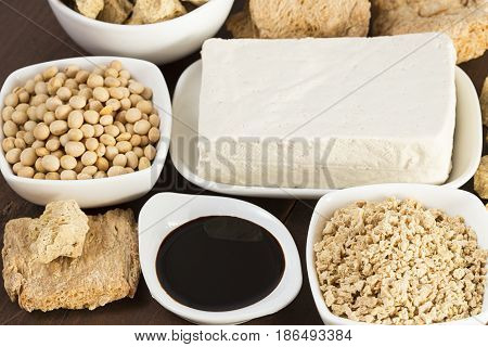 The various soy products in white dishes