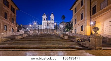 Spanish Steps and Trinita del Monti Church in the Morning Rome Italy