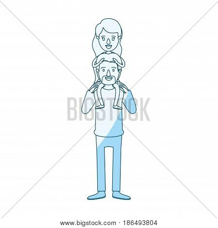 blue silhouette shading caricature bearded father with moustache and girl on his back vector illustration
