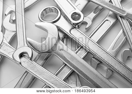 Set of combination wrenches, closeup