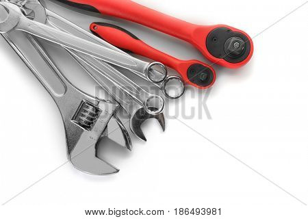 Combination and screw wrenches with ratchets on white background