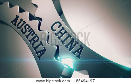 China Austria on Mechanism of Metal Gears with Glowing Light Effect - Communication Concept. China Austria - Illustration with Glow Effect. 3D Render .