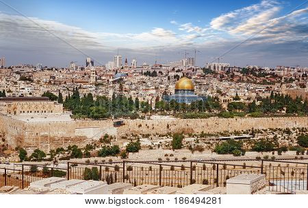 View of Jerusalem Old city and the Temple Mount Dome of the Rock and Al Aqsa Mosque from the Mount of Olives in Jerusalem Israel