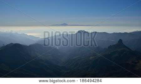 Mountains of Gran canaria, Roque Bentayga and Tenerife island, Canary islands