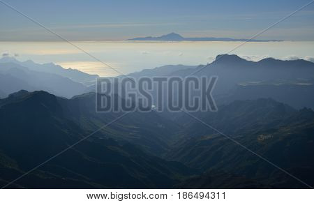 Mountains of Gran canaria and Tenerife island, Canary islands