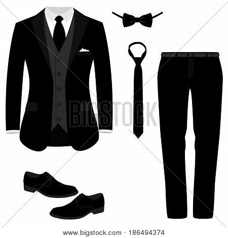 Wedding men's suit with shoes tuxedo. Men's jacket. Collection. Vector illustration.