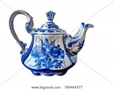The teapot on a white background. Teapot in Russian traditional Gzhel style. Closeup. Isolated on white.