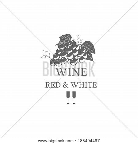 Wine red and white label. Template for logo, signage on white background. Vector design