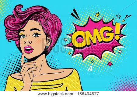 Wow female face. Sexy surprised young woman with open mouth and pink hair bright makeup and OMG! speech bubble. Vector colorful background in pop art retro comic style. Party invitation poster.