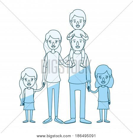 blue silhouette shading caricature big family parents with boy on his back and daugthers taken hands vector illustration