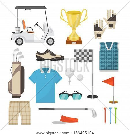 Icons of sports equipment for playing golf in a flat style. Golf car, ball, hole, bags, caps, shoes, golf clubs. Vector illustration for registration of banners, articles and other material about the golf.
