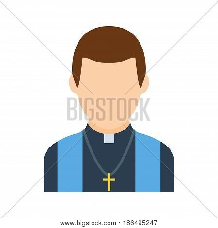 Catholic priest vector icon in a flat style. Simple avatar of a priest in a robe and with a breast cross isolated on a white background.