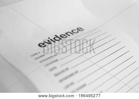 close up blank white evidence bag for justice concept with copy space in monotone