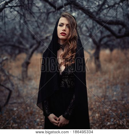 Beautiful Girl In In Black Vintage Dress With Curly Hair Posing In The Woods. Woman In Retro Dress L