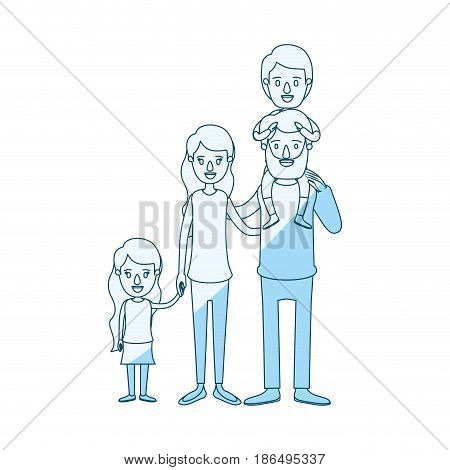 blue silhouette shading caricature big family parents with boy on his back and daugther taken hands vector illustration