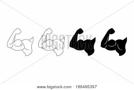 Hand of bodybuilder set logo. Brawny arm isolated. Flat style. Logo. Sports emblem, icon