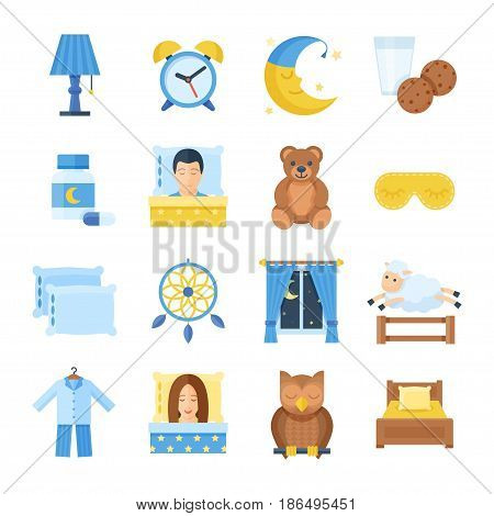 Sleep time vector set of icons in a flat style. Sleep accessories pajamas, mask, pillows, bed, sleeping pills, alarm clock, mask. Sleeping man and woman icons.
