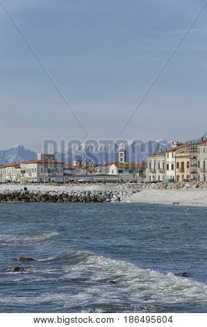 Townscape of Marina di Pisa and Apuan Alps