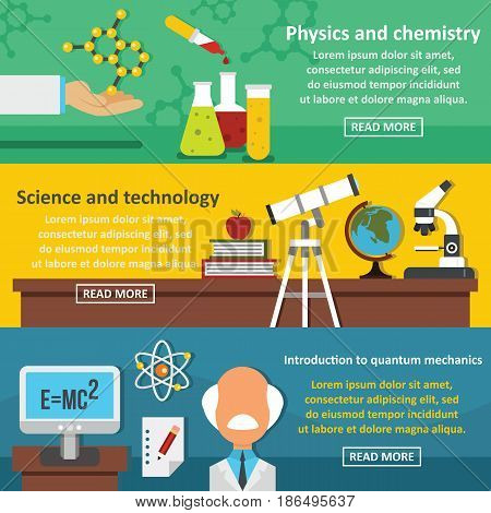 Science tech banner horizontal concept set. Flat illustration of 3 science tech vector banner horizontal concepts for web