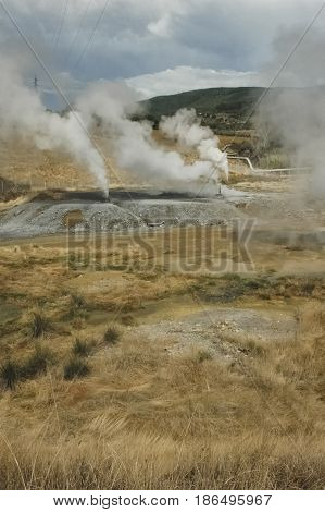 View of the sulfur smoke of geothermal energy
