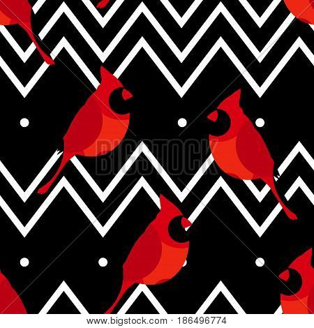 Abstract pattern with red cardinal and line zigzags. Ornament for textiles and wrapping. Vector.