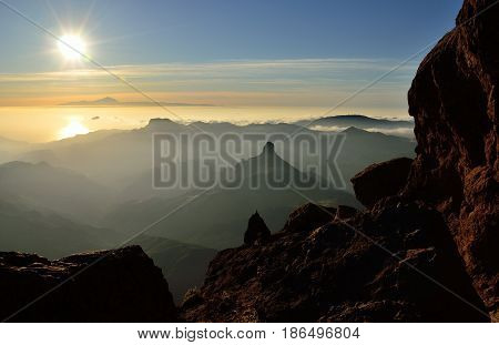 Beautiful sunset from the mountain, summit of Gran canaria, Canary islands
