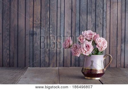 Pink Roses In A Vintage Jug
