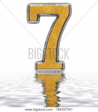 Numeral 7, Seven, Reflected On The Water Surface, Isolated On White, 3D Render