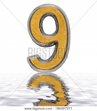 Numeral 9, Nine, Reflected On The Water Surface, Isolated On White, 3D Render