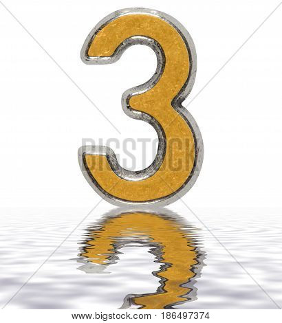 Numeral 3, Three, Reflected On The Water Surface, Isolated On White, 3D Render