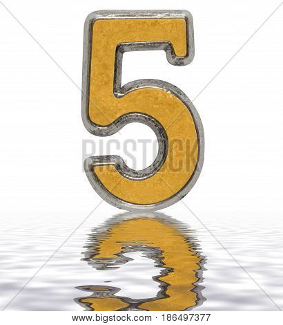 Numeral 5, Five, Reflected On The Water Surface, Isolated On White, 3D Render