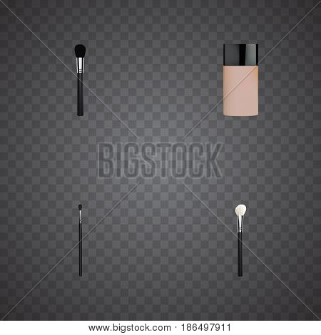Realistic Powder Blush, Concealer, Make-Up Product And Other Vector Elements. Set Of Greasepaint Realistic Symbols Also Includes Blush, Concealer, Foundation Objects.