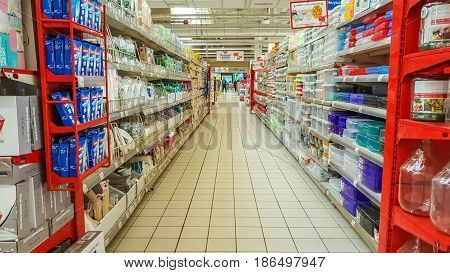 Eskisehir Turkey - April 17 2017: Interior of Carrefour supermarket one of the cheapest retailers originated in France also one of the world's biggest hypermarket chains