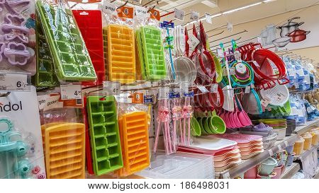 Eskisehir Turkey - April 17 2017: Kitchen utensils for sale on supermarket shelves in Eskisehir Turkey