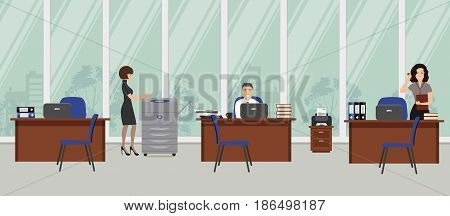 Office room. The young women and man are employees at work. There is brown furniture, blue chairs, a copy machine on a window background in the picture. Vector flat illustration.