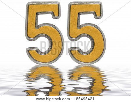 Numeral 55, Fifty Five, Reflected On The Water Surface, Isolated On White, 3D Render